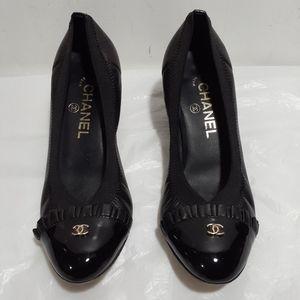 Chanel Black Patent Ruffle Cap Logo Heels